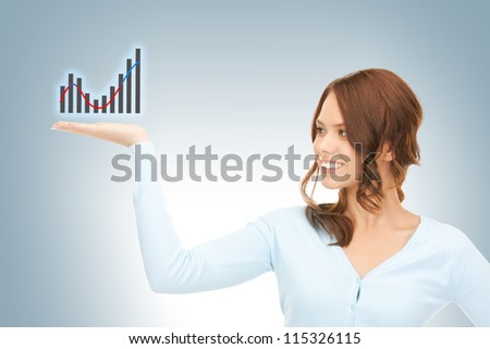 beautiful woman showing growing graph on the palm of her hand