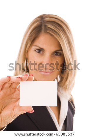 Beautiful woman showing her business card - stock photo
