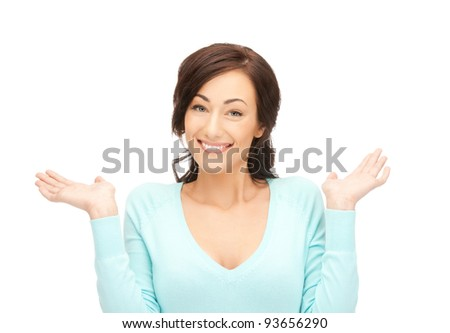 beautiful woman showing something on the palms of her hands - stock photo