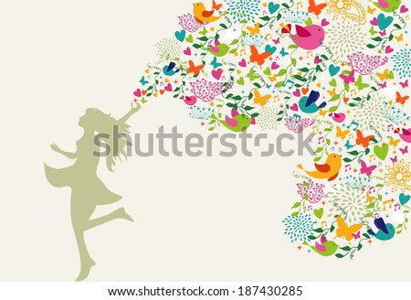 Beautiful woman silhouette, summer time colorful elements composition. - stock photo