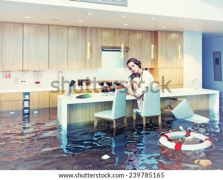 beautiful woman sitting on a chair in flooded kitchen interior. Photo combination concept - stock photo