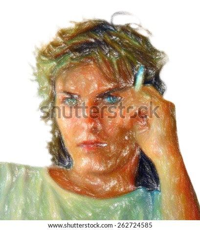beautiful woman sitting pensive and holding a cigarette. psychological plan. oil pastel. (handmade digital painting). (When you see 100% 100 has bold lines with oil pastel). - stock photo