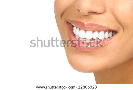 Beautiful woman smile and  teeth. Over  white background - stock photo