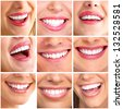 Beautiful woman smile collage background. Dental health. - stock photo