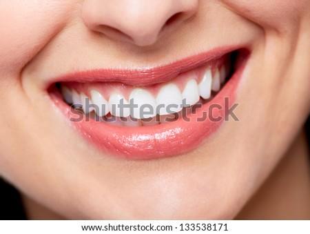 Beautiful woman smile. Dental health care background. - stock photo