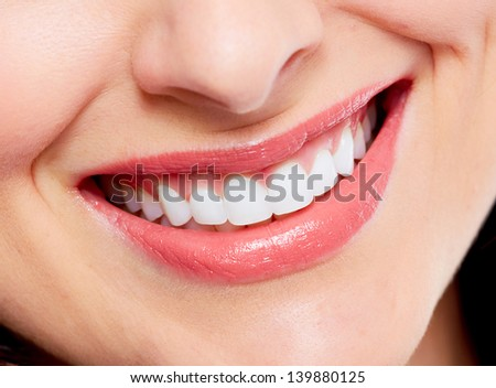 Beautiful woman smile. Dental health care background. - stock photo