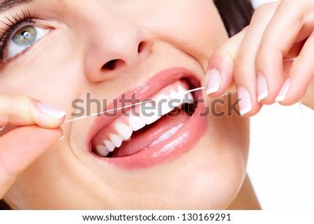 Beautiful woman smile. Dental health care clinic. - stock photo