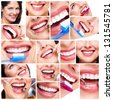 Beautiful woman smile. Dental health collage. - stock photo