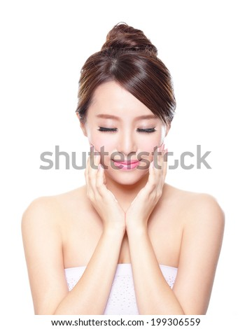 Beautiful woman smile face with clean face skin, and closed eyes , concept for eye and skin care, asian