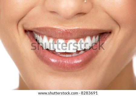Beautiful woman smile. Isolated over  white background - stock photo