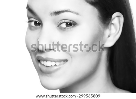 Beautiful woman smile. Teeth whitening. Dental care. - stock photo