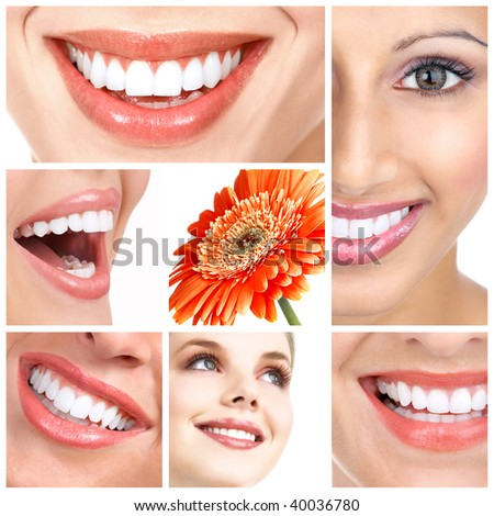 Beautiful woman smiles and teeth. Over  white background - stock photo