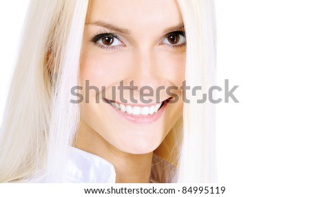 Beautiful woman smiles, isolated on white background. - stock photo