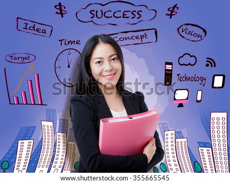 Beautiful woman smiling and holding pink document folder on purple background. Decision making process concept. Asian female has many ideas way to success.