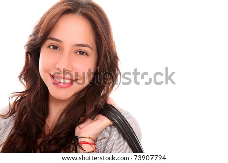 Beautiful woman smiling at the camera with space in blank for insert text or design - stock photo