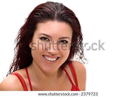 Beautiful woman smiling. Copy space. - stock photo