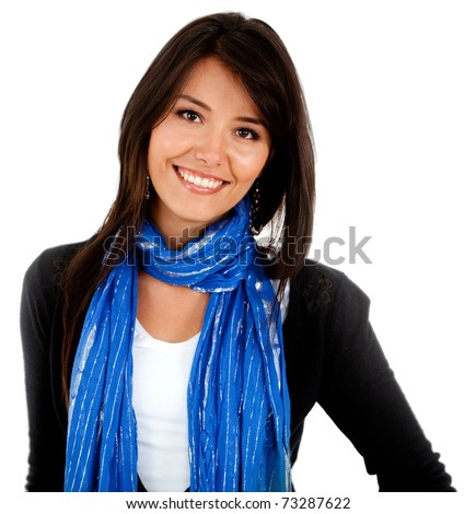 Beautiful woman smiling � isolated over a white background - stock photo