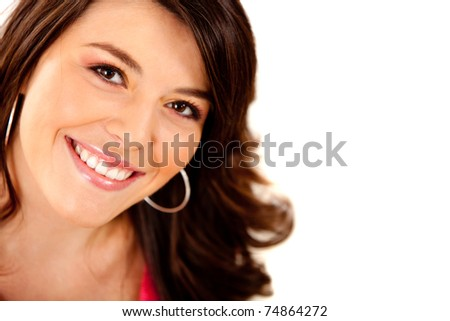 Beautiful woman smiling ? isolated over a white background - stock photo