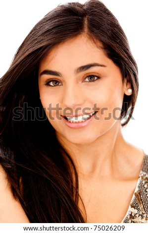 Beautiful woman smiling - isolated over a white background
