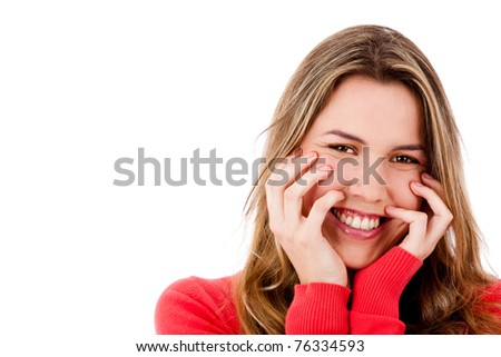 Beautiful woman smiling - isolated over a white background - stock photo