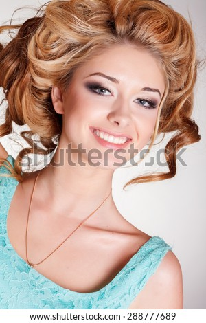 Beautiful woman smiling portrait happy girl face isolated, beauty blonde woman portrait, fashion model bright makeup woman with curly blond hair, series - stock photo