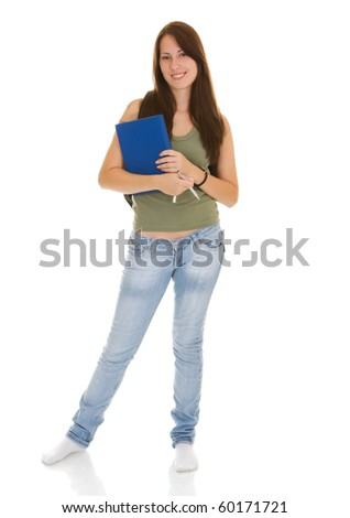 beautiful woman smiling - student isolated over a white background - stock photo