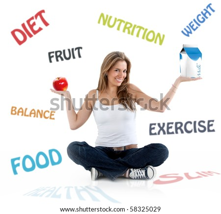 Beautiful woman smiling with diet and nutrition words on the background - stock photo