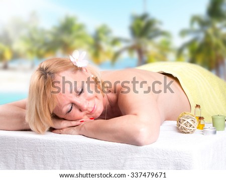 Beautiful woman, spa and wellness concept - stock photo