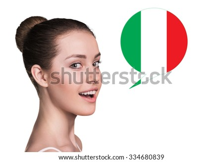 Beautiful woman speak.Bubble with Italian flag. Isolated background. - stock photo