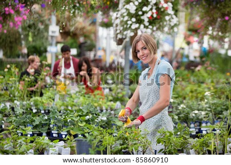 Beautiful woman spraying water on plants with people in background - stock photo