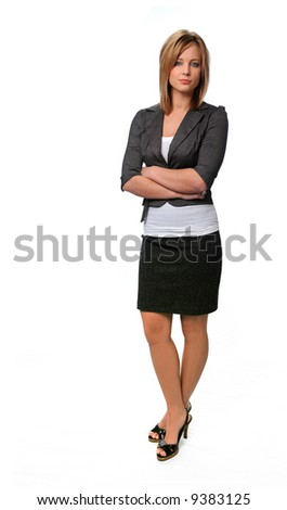 Beautiful woman standing with arms crossed isolated over a white background