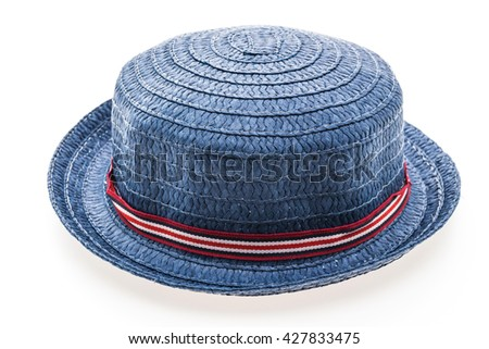 Beautiful Woman straw beach hat style for holiday summer vacation concept isolated on white background