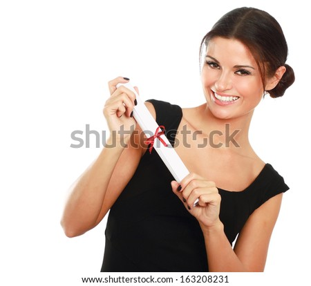 Beautiful woman student with diploma,isolated on white background - stock photo