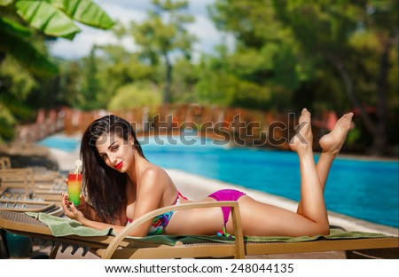 Beautiful woman swimming pool summer vacation summertime, sexy girl bikini fashion, tanned female model, girl having fun on beach, luxury lifestyle, series - stock photo