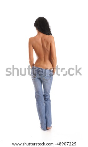 Beautiful woman takes off jeans isolated on white - stock photo