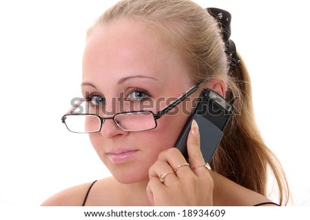 Beautiful woman talking by phone.