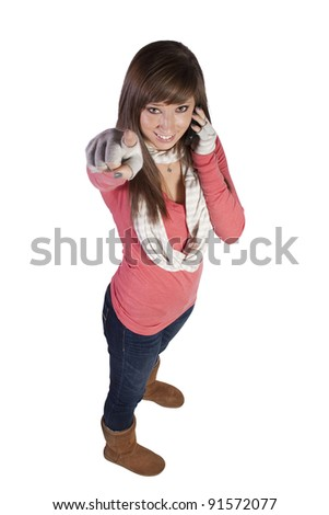 Beautiful Woman Talking on the Cell Phone - stock photo