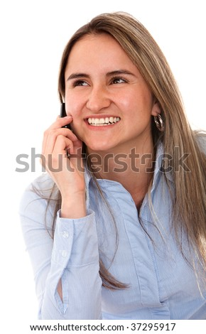 Beautiful woman talking on the phone isolated - stock photo