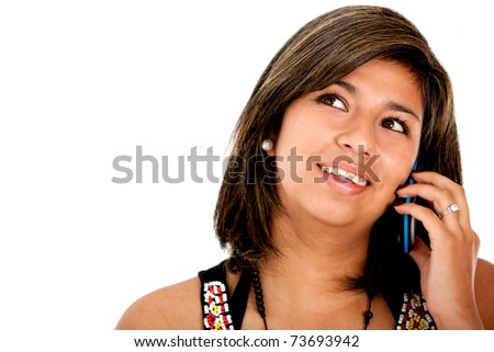 Beautiful woman talking on the phone - isolated over white