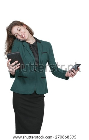 Beautiful woman talking texting and multitasking while juggling multiple cell phones and conversations - stock photo