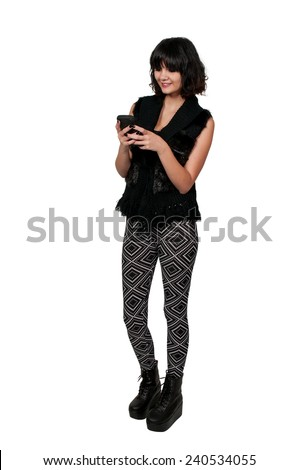 Beautiful woman texting with a cell phone - stock photo
