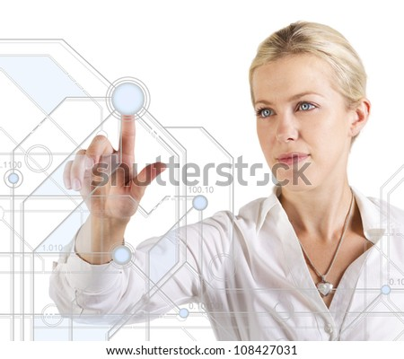 Beautiful woman touching a digital scheme - stock photo