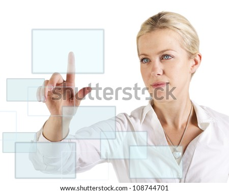 Beautiful woman touching  a screen with finger - stock photo