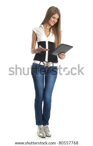Beautiful Woman Using Tablet Computer - stock photo