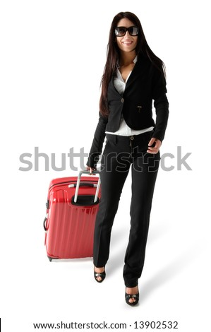 Beautiful woman walking with red travel luggage, isolated on white background - stock photo