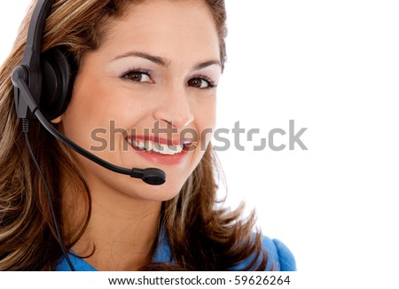 Beautiful woman wearing a headset - Business concepts - stock photo