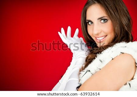 beautiful woman wearing a  santa claus clothes - stock photo