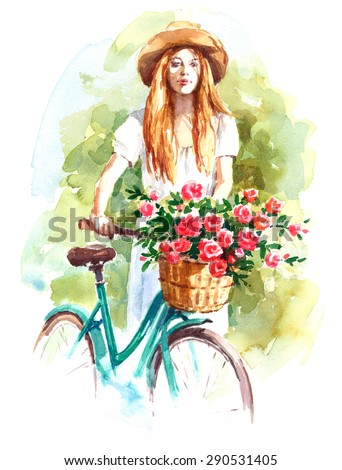 Beautiful Woman Wearing a Straw Hat and White Dress Holding a Vintage Bicycle with Flower Basket Hand Painted Watercolor Illustration - stock photo