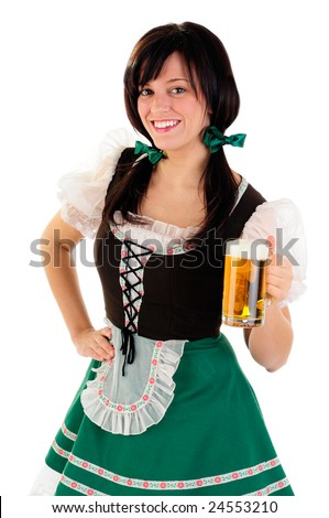 Beautiful Woman Wearing A Traditional Costume For St Patrick's Day And Oktoberfest Holding A Beer