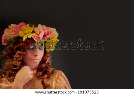 Beautiful Woman Wearing a Wreath of Flowers
